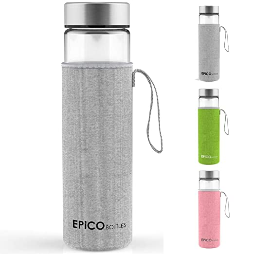EPiCO BOTTLES Clásica 600 ml | Botella de Cristal | Botella de Vidrio Para Agua, Bebidas, Té, Café, Jugos, Zumos | Reutilizable, Portátil | Con Funda ...