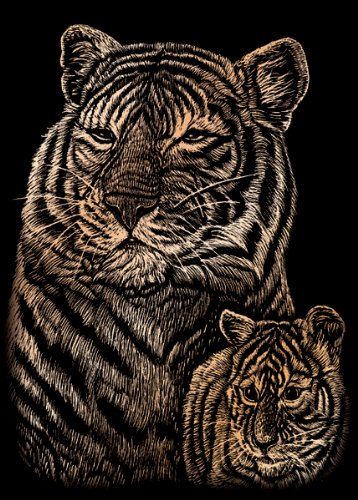 Copper Kit Foil - Royal Brush COPMIN-102 Mini Copper Foil Engraving Art Kit, 5 by 7-Inch, Tiger and Cub