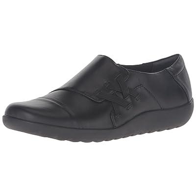 CLARKS Women's Medora Sandy Slip-On Loafer, Black Leather, 5 M US | Shoes