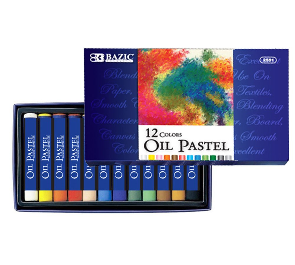 BAZIC 12 Color Oil Pastels, Case of 144 (2551-144)