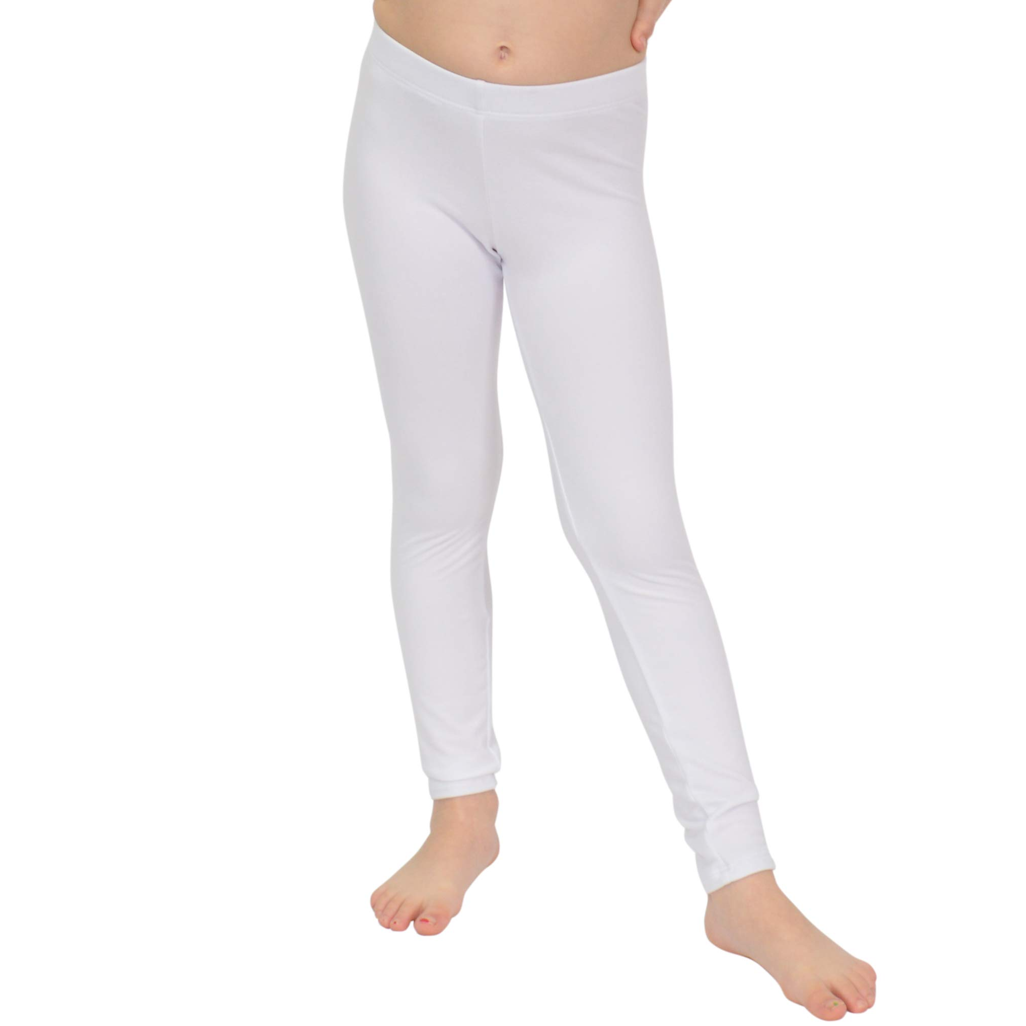Stretch is Comfort Girl's Cotton Footless Leggings White Medium