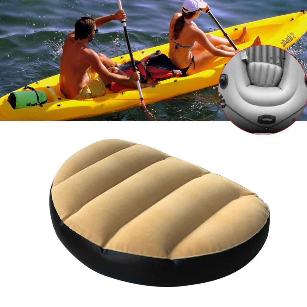 Pack of 2 Inflatable Boat Seat, PVC+ Velvet Boat Seat Cushion Pad Covers Outdoor Camping Rafting Kayak (Yellow) by Yosooo