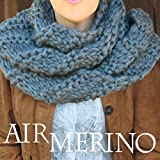AIR MERINO Outlander Cowl Knit Kit: super soft thick 100% Pure Merino Yarn + US #19 needles + Written Pattern. DIY. Air Merino by Living Dreams - Color: DOVE