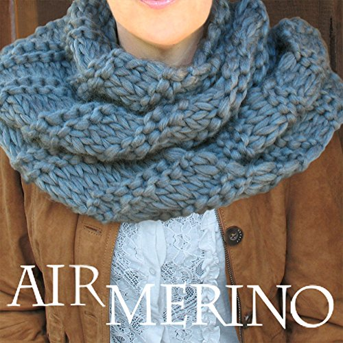 AIR MERINO Outlander Cowl Knit Kit: super soft thick 100% Pure Merino Yarn + US #19 needles + Written Pattern. DIY. Air Merino by Living Dreams - Color: DOVE by Living Dreams Yarn