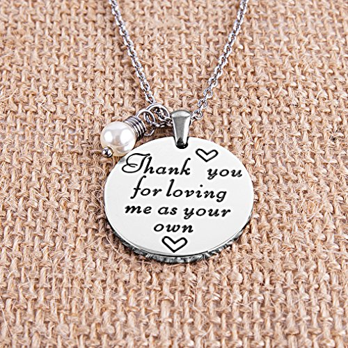 ELOI Christmas Gift for Stepmom Thank You For Loving Me As Your Own Necklace Mother's Day Gifts Bonus Mom Pendant Mother in Law Jewelry by ELOI (Image #2)