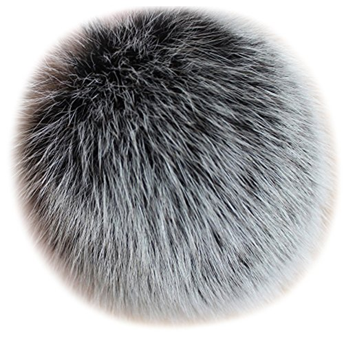 Valpeak 5 Fox Fur Ball Pom Pom Keychain Bag Charms Fluffy Fur Keychain Balls (Snowtop Black)