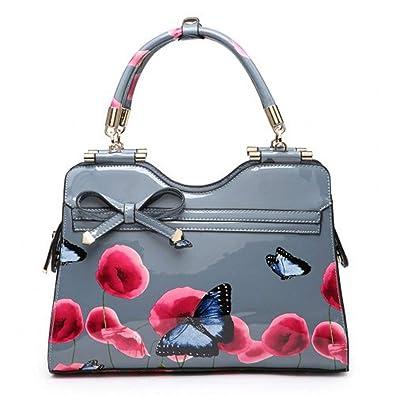 Ladies Patent Poppy Butterfly Shoulder Bag - Women s Designer Floral Grab  Handbag M34510 (Medium 039070ef12819