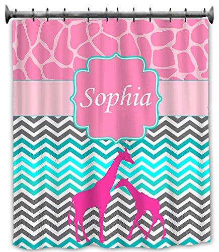aBaby Custom Giraffe and Chevron Design 2 Shower Curtain, Name Sophia