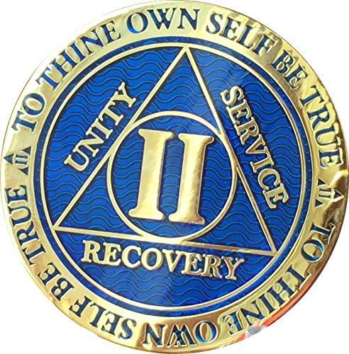 Recoverychip 2 Year AA Medallion Reflex Blue Gold Plated Alcoholics Anonymous Chip