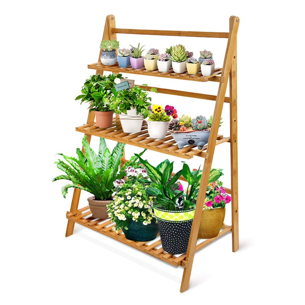 OGORI Bamboo Wood Ladder Plant Stand 3-Tier Foldable Organizer Flower Display Shelf Rack for Home Patio Lawn Garden Balcony Holder (3 Tier(Large)) by OGORI