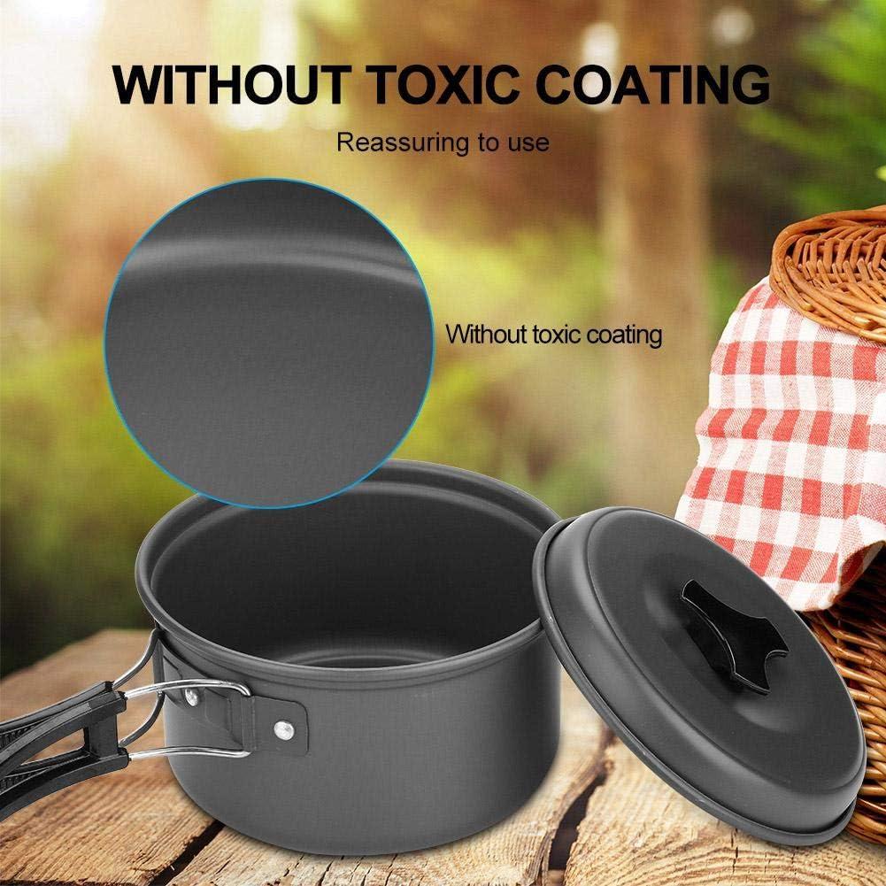 Outdoor Picknick Kochset Portable Pot Pan Kit f/ür 2-3 Personen VGEBY1 Camping Kochgeschirr
