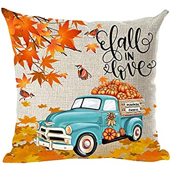 ramirar Fall in Love Blue Pickup Truck Orange Pumpkins Maple Leaves Birds Autumn Y'all Decorative Throw Pillow Cover Case Cushion Home Living Room Bed Sofa Car Cotton Linen Square 18 x 18 Inches