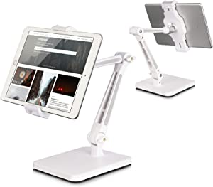 Tablet Stand and Holder Adjustable, Tablet Holder for Desk, Foldable iPad Holder Stand 360° Swivel Angle Rotation for iPad Pro 12.9, Kindle, Surface Pro (4.7''-12.9'')