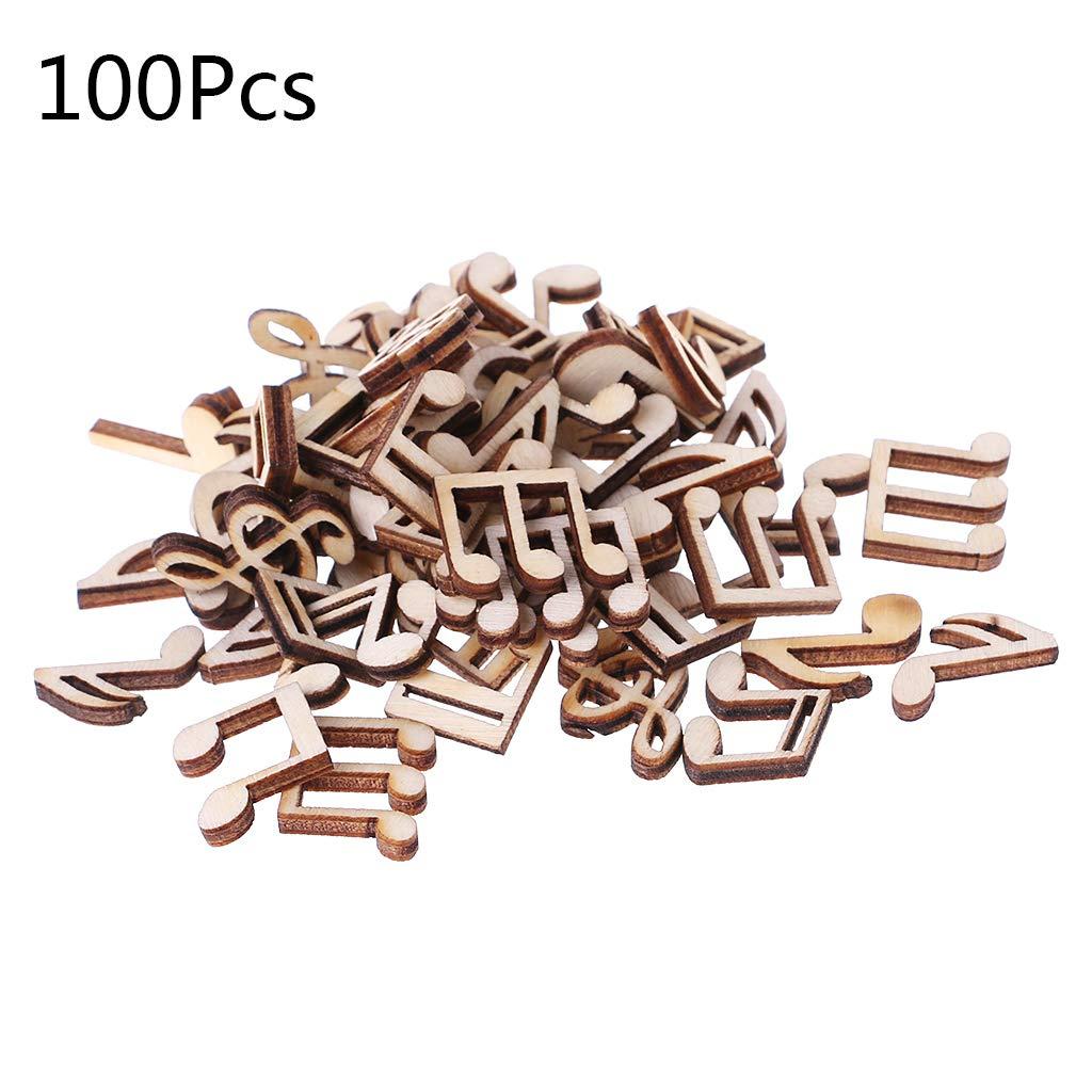 100 piezas de madera cortada con l/áser decoraci/ón de notas musicales en forma de madera para decoraci/ón de bodas