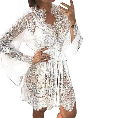 Internet_Camisón de Encaje Sexy, Vestido de Perspectiva,Kimono Batas Mujer,Vestido de Encaje