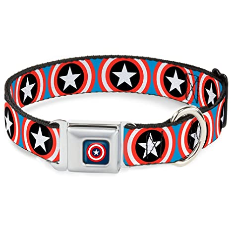 Buckle-Down Seatbelt Buckle Dog Collar - Captain America Shield Repeat Blue - 1""