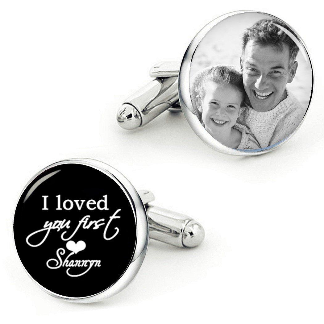 Kooer I Loved You First Cufflinks Handmade Custom Own PHoto Phrase Wedding Personalized Cuff Links (Style 2)