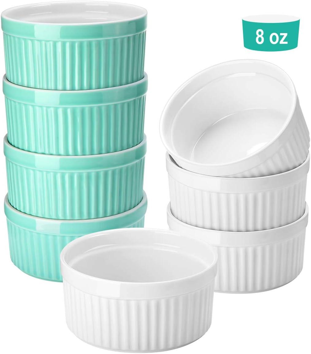 8 Oz Porcelain Ramekins, Set of 8, Souffle Dish Ramekins For Creme Brulee Pudding Custard Cups, Oven Safe Baking Bowls, Ramekins for Baking