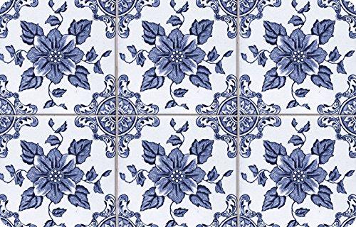 """Bungalow Flooring Neoprene Delft Floral Door Mat, 18 x 27"""", Multicolor"""