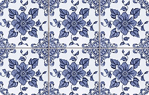 Faux Flooring Delft Floral Mat, 23 by 36-Inch, Multicolor