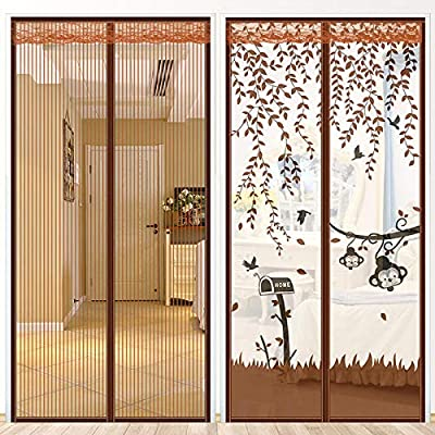Osuter Cortina de mosquito de succión magnética con velcro de verano Puertas de pantalla magnéticas de auto-succión Pantalla de puerta de dormitorio en casa sin pantalla perforada-raya_Ancho 90X altura 220: Amazon.es: Hogar