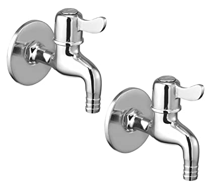 Oleanna Magic Brass Quarter Turn Fittings Nozzle Bib Cock Short Body Taps For Bathroom (Chrome Finish) (Pack Of 2 Bib Cock)