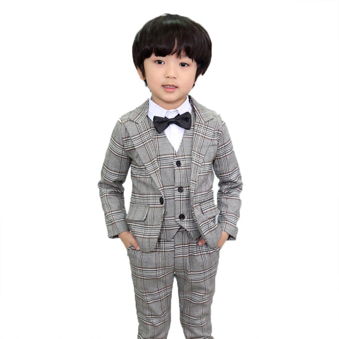 Gele Boy 4 Pieces Gray Plaid Suit Formal Wear,Vest+Blazer+Pants+Bow Tie … (8, Black Bow Tie) by Gele