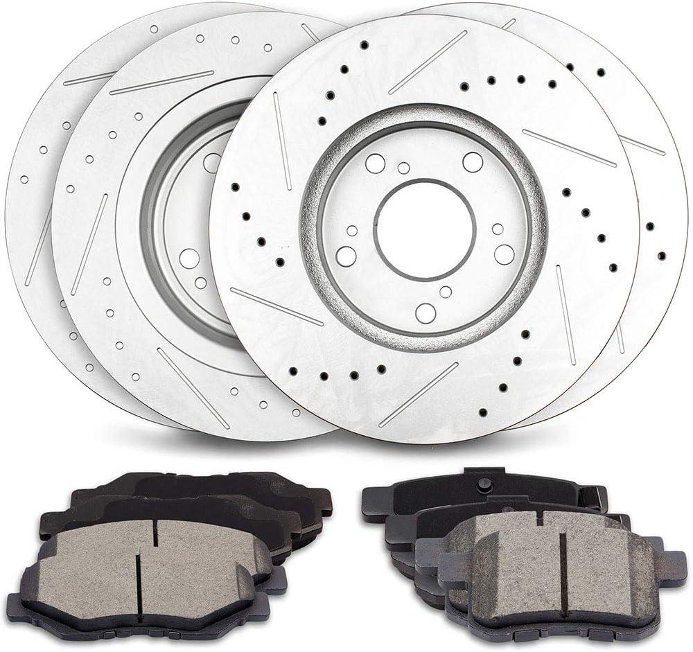 ECCPP 4pcs Front Rear Discs Brake Rotors and 8pcs Ceramic Disc Brake Pads fit for 2014 Dodge Avenger,2011 2012 2013 2014 Ford Mustang
