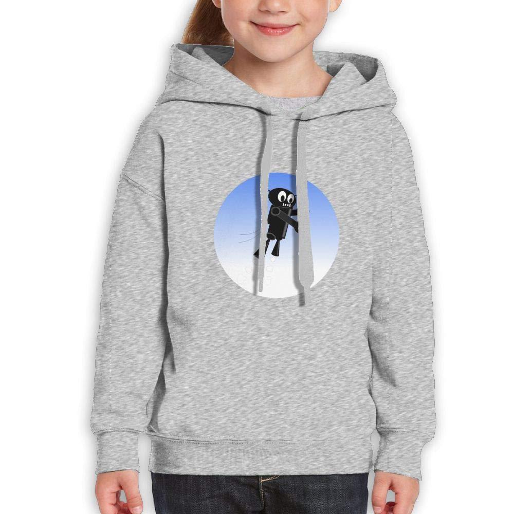 Qiop Nee Black Robot in The Blue Sky Childrens Hoody Print Long Sleeve Sweatshirt Girl's