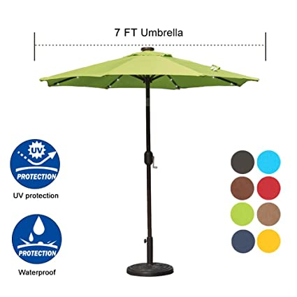 Etonnant Sundale Outdoor 7 Ft Solar Powered 24 LED Lighted Patio Umbrella Table  Market Umbrella With Crank