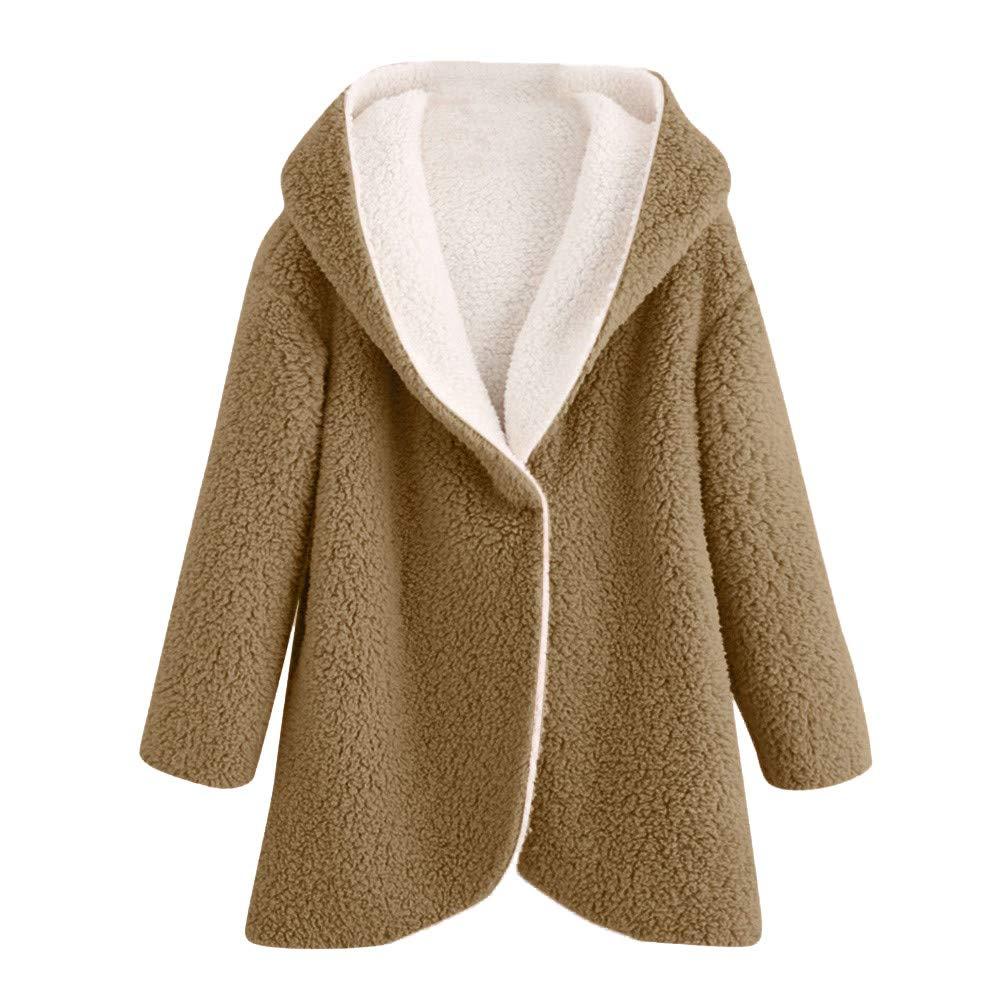 DEATU Women's Fashion Winter Curved Hem Long Style Hoodie Coat Sale Soft Plush Overcoat(Khaki,Medium)