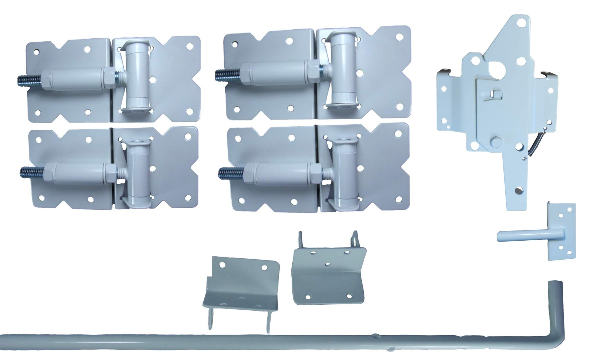 Vinyl Fence Double Gate Kit - White (Vinyl Gate Hinges, Latch and Drop Rod)
