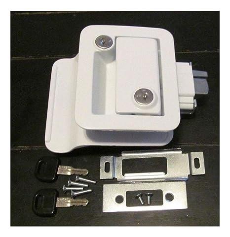 Amazon.com: FIC 43610 Cerradura de puerta blanca 2 llaves ...