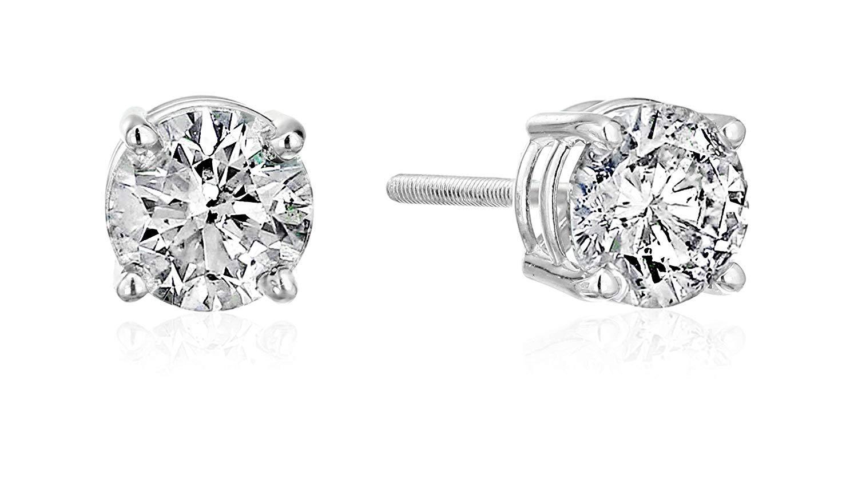 Certified 14k Gold Diamond Stud Earrings - 1/3 CTTW, J-K Color, I2 Clarity
