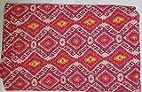 Handmade Kantha Quilt - Patterned Pink