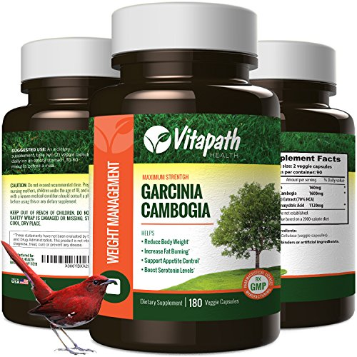 Garcinia Cambogia Extract 1600MG Diet Pill, 100% All Natural Fat Burner, Premium Weight Loss Management, Appetite Suppressant -180 Veggie Caps- By (Cap Weight Loss Appetite Suppressant)