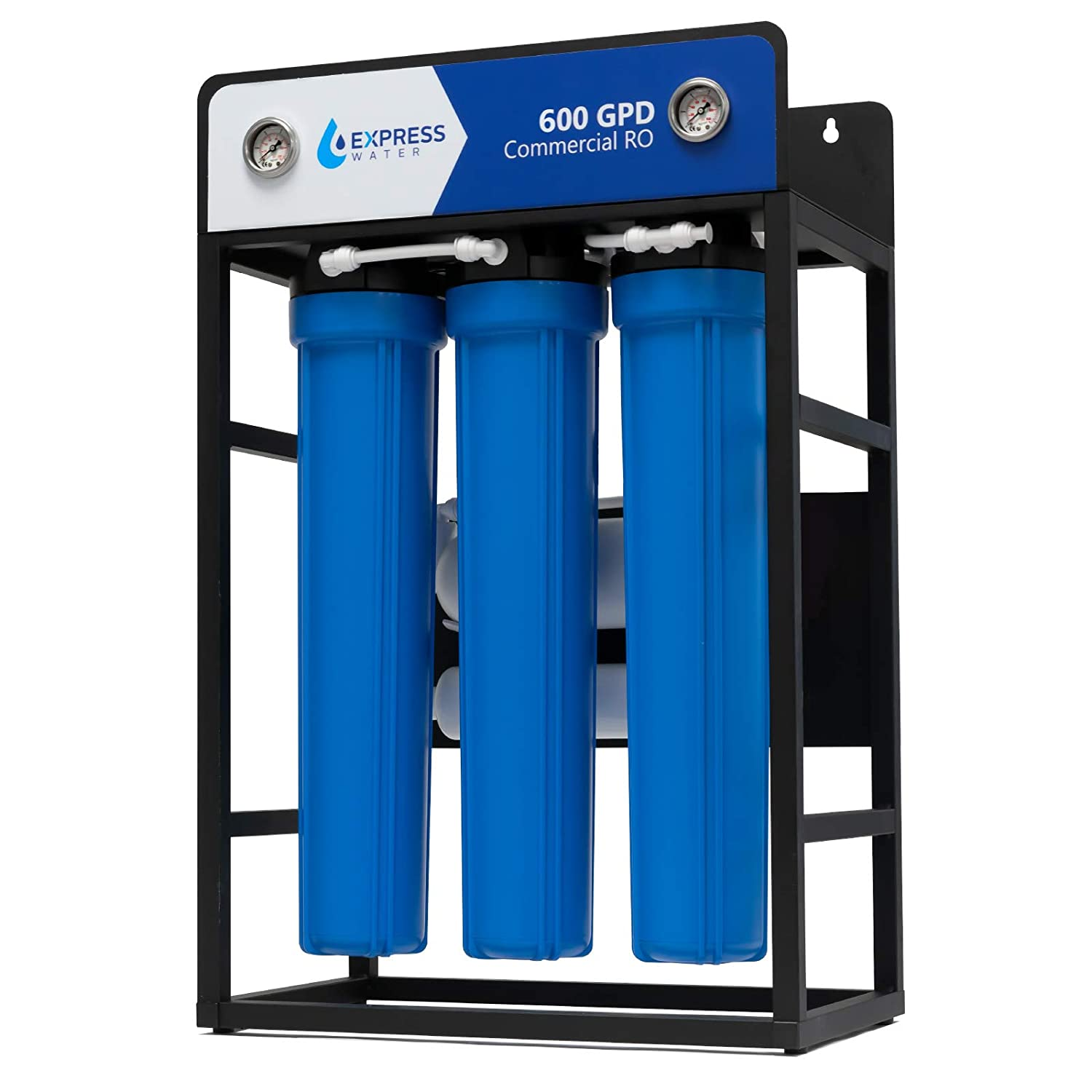Express Water 600 GPD Commercial Reverse Osmosis Water Filtration System – 5 Stage High Capacity RO Filtration – Includes Pre-Filters, Pressure Pump, Controller, Gauges, and RO Membrane