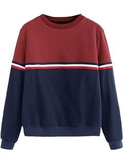 14221231969 Romwe Women's Color Block Round Neck Long Sleeve Pullover Striped  Sweatshirt Top