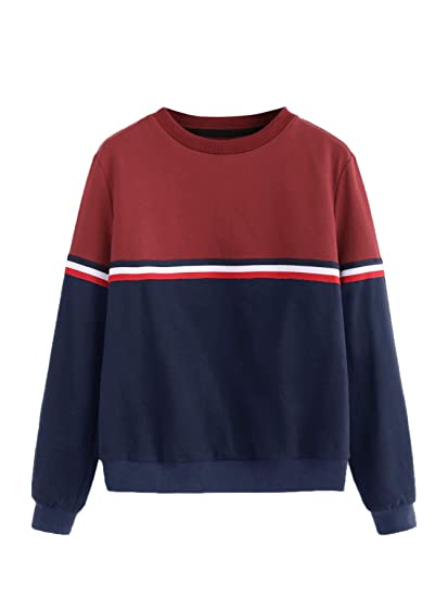 924d22eaa Romwe Women's Color Block Round Neck Long Sleeve Pullover Striped Sweatshirt  Top Blue&Red S at Amazon Women's Clothing store: