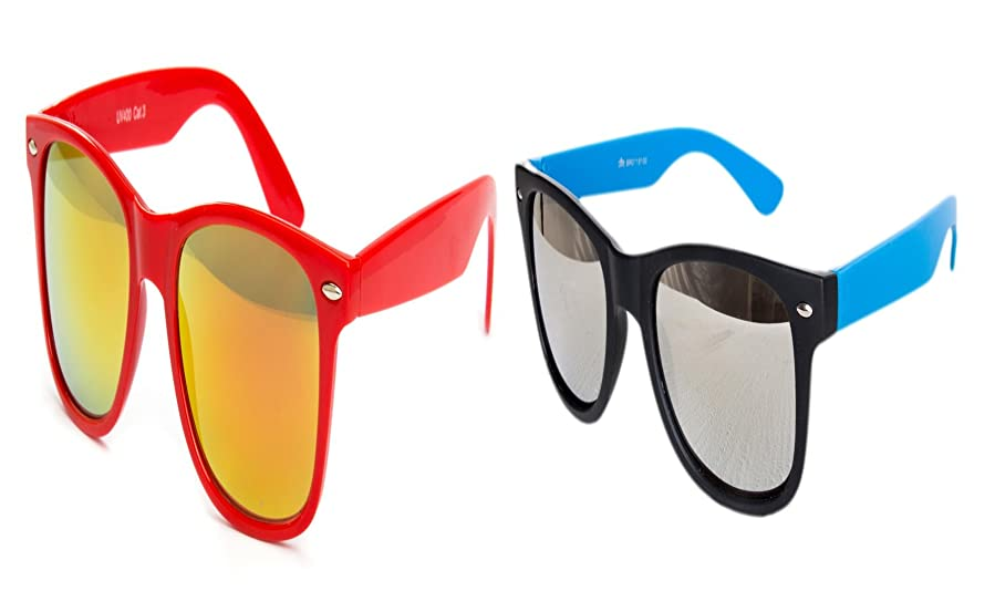 2 er Set Nerd Sonnenbrille Nerd Brille Feuer verspiegelt Schwarz + Weiß 0x2KIb