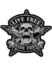 Parche Live Free Ride Free, calavera, adhesivo por la zona de atrás, XXL 22x 21cm