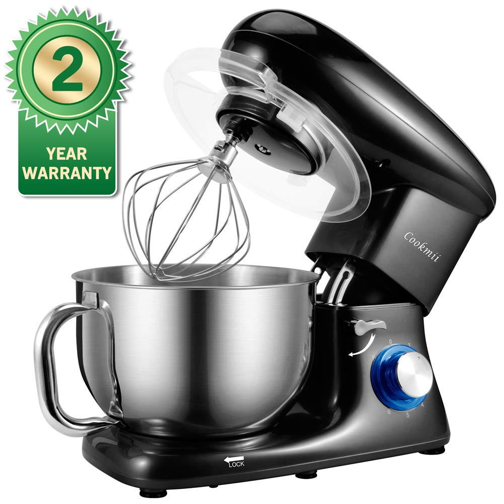 Stand Mixer, Cookmii Electric Food Mixer with 5.5 Quart Stainless Steel Bowl, 660W Tilt-Head Dough Mixer with Dough Hook,Whisk, Flat Beater, Pouring Shield,6-Speed(Black) by Cookmii