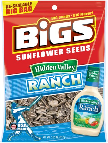 BIGS Hidden Valley Ranch Sunflower Seeds, 5.35-Ounce Bags (Pack of (Black Beams)