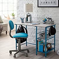 2 Piece Kids Study Laminated Wood Desk and Ergonomic Chair with Two Large Side Storage Shelves in Teal/Gray Finish