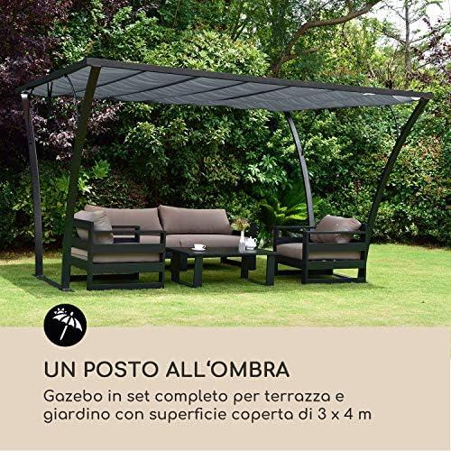 Blumfeldt Palazzo Pavillon • Pergola · Carpa Marquesina para terraza • 4 x 3 m · Tejado plegable · poliéster · resistente al agua y a los rayos UV • atornillable al suelo · aluminio • Negro/Beige: Amazon.es: Jardín