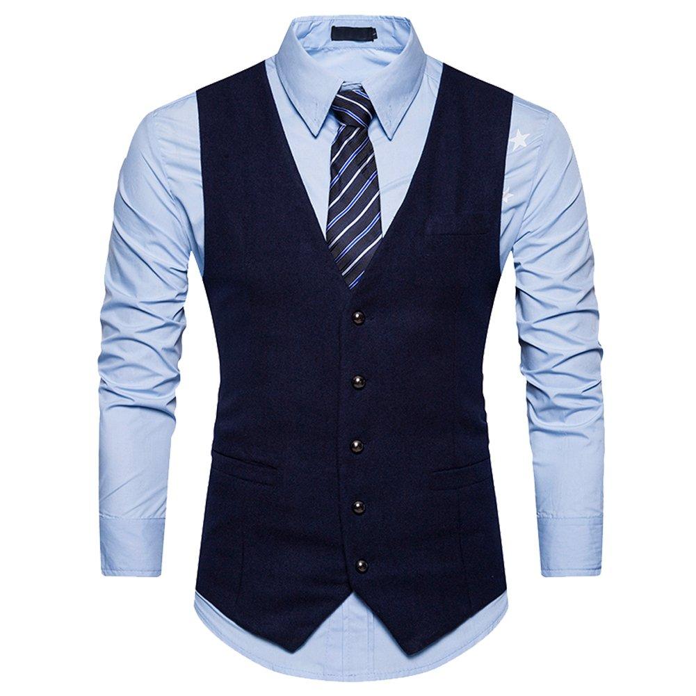 K-Men Men Business Casual Slim Fit Stylish Tweed Suit Vest Solid Dress Waistcoat