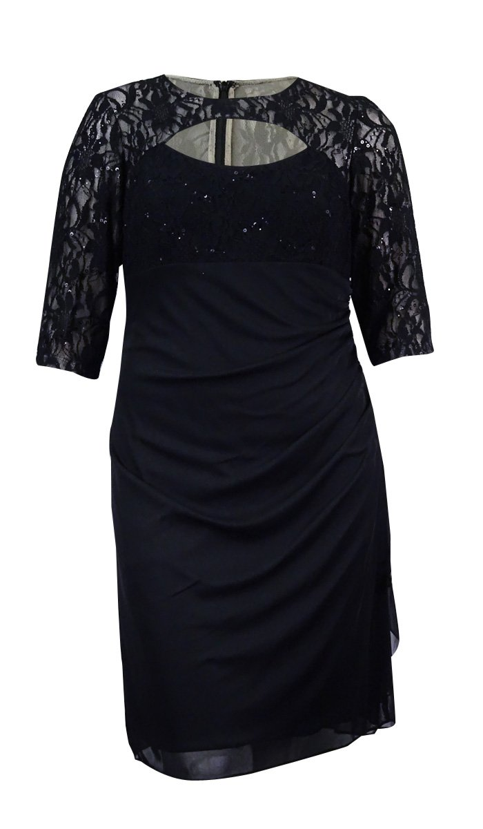 Betsy & Adam Womens Plus Lace Sequined Party Dress Black 16W
