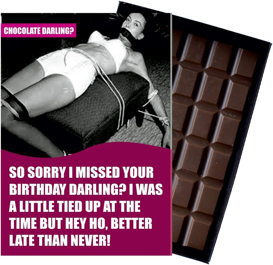 Funny Belated Birthday Card Silly Gift For Men Women Girlfriend Boyfriend Husband Wife Oncocoa 100 Gram Vintage Boxed Belgian Milk Chocolate Greeting For Him Or Her Od126 Amazon Co Uk Grocery