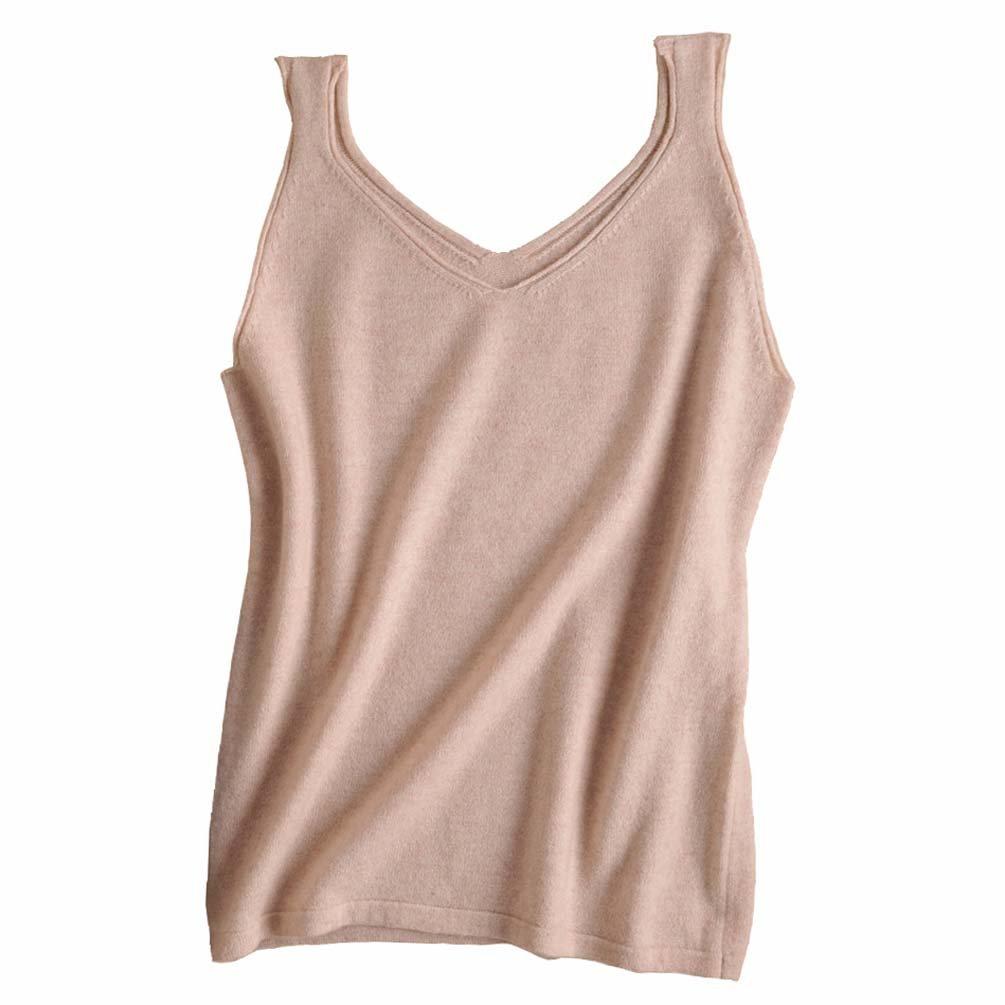 FINCATI Pure Cashmere Camisole Vests Top 2018 Spring Summer Spaghetti Strap Soft Skin Friendly Sexy Slim V Neck 3 Colors (B-Beige, M)