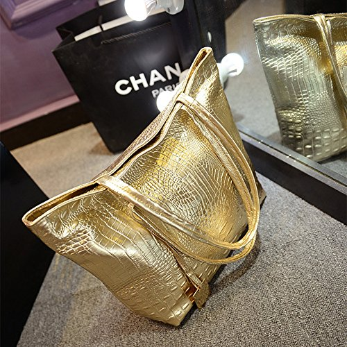 Hombro Dorado de Mujeres Grandes para de Bandolera Elegante de Cuero Bolsa Bolsos Wewod Shopper Bolso Viaje Bolsos cBUTXyq1A